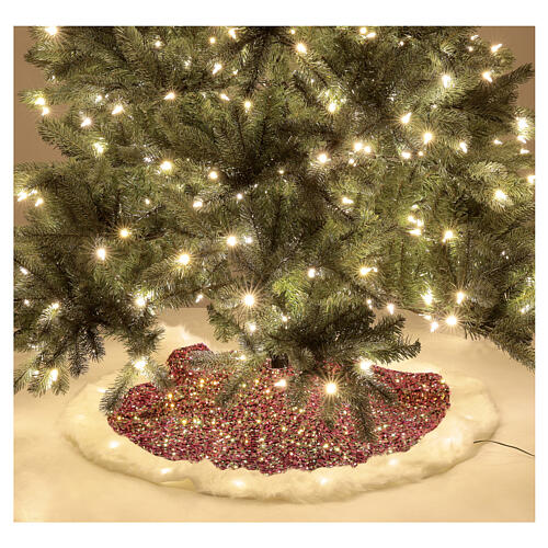 Christmas Tree skirt red sequins with warm white LED lights 1 m 2