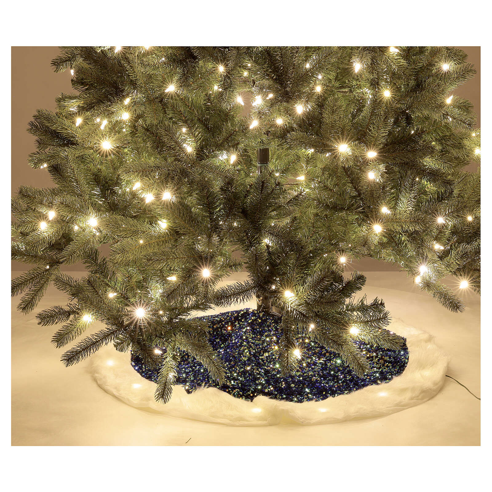 Copribase albero led bianco caldo paillettes blu 1 m 3