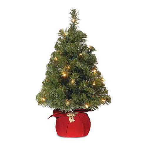 Alberello di Natale 60 cm luci 15 led Noble Spruce Tree rosso Slim 1