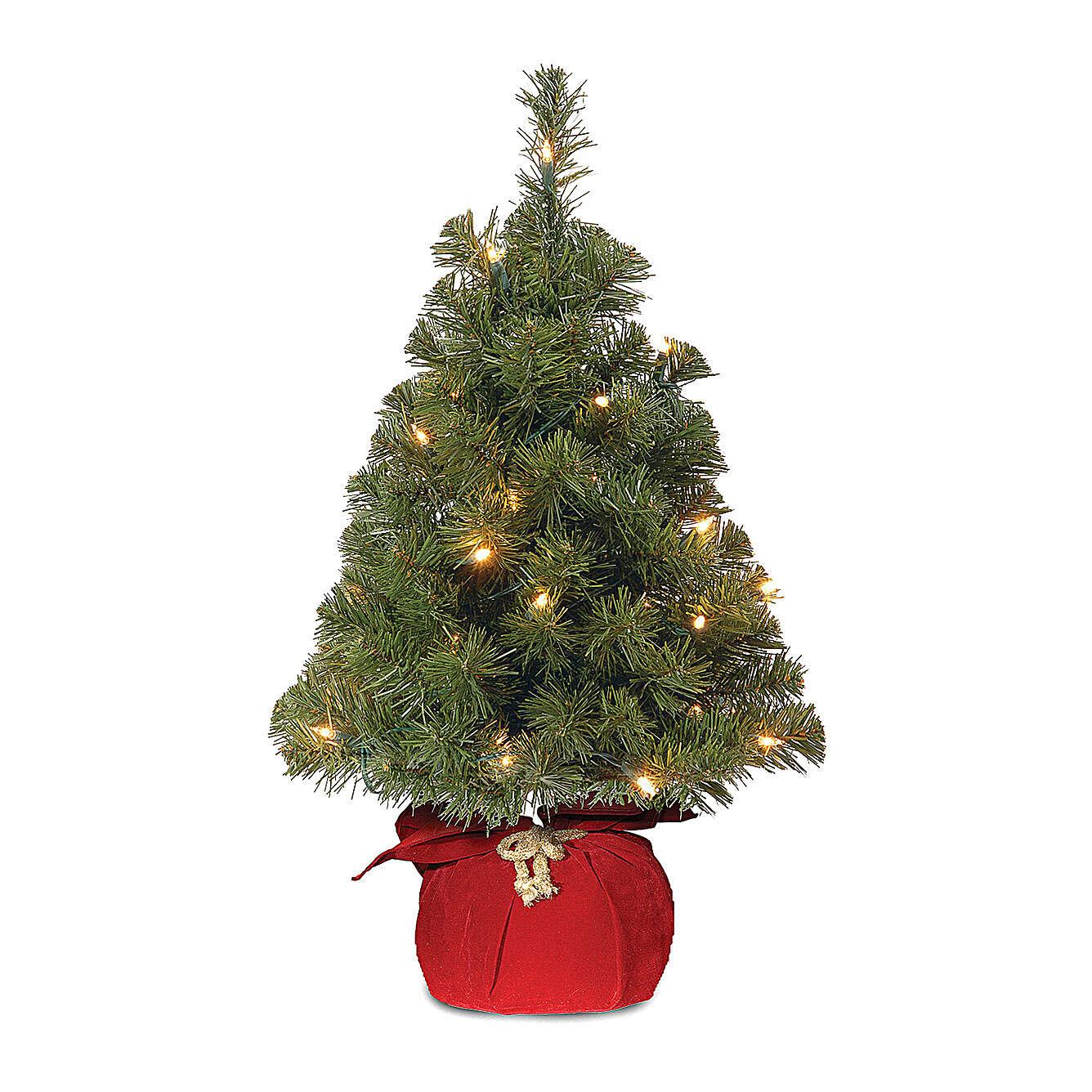 Alberello di Natale 90 cm rosso luci 25 led Noble Spruce Tree Slim 3