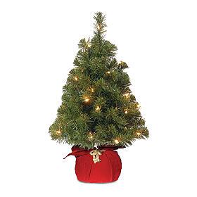 Alberello di Natale 90 cm rosso luci 25 led Noble Spruce Tree Slim s1