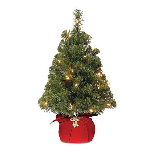 Alberello di Natale 90 cm rosso luci 25 led Noble Spruce Tree Slim 1