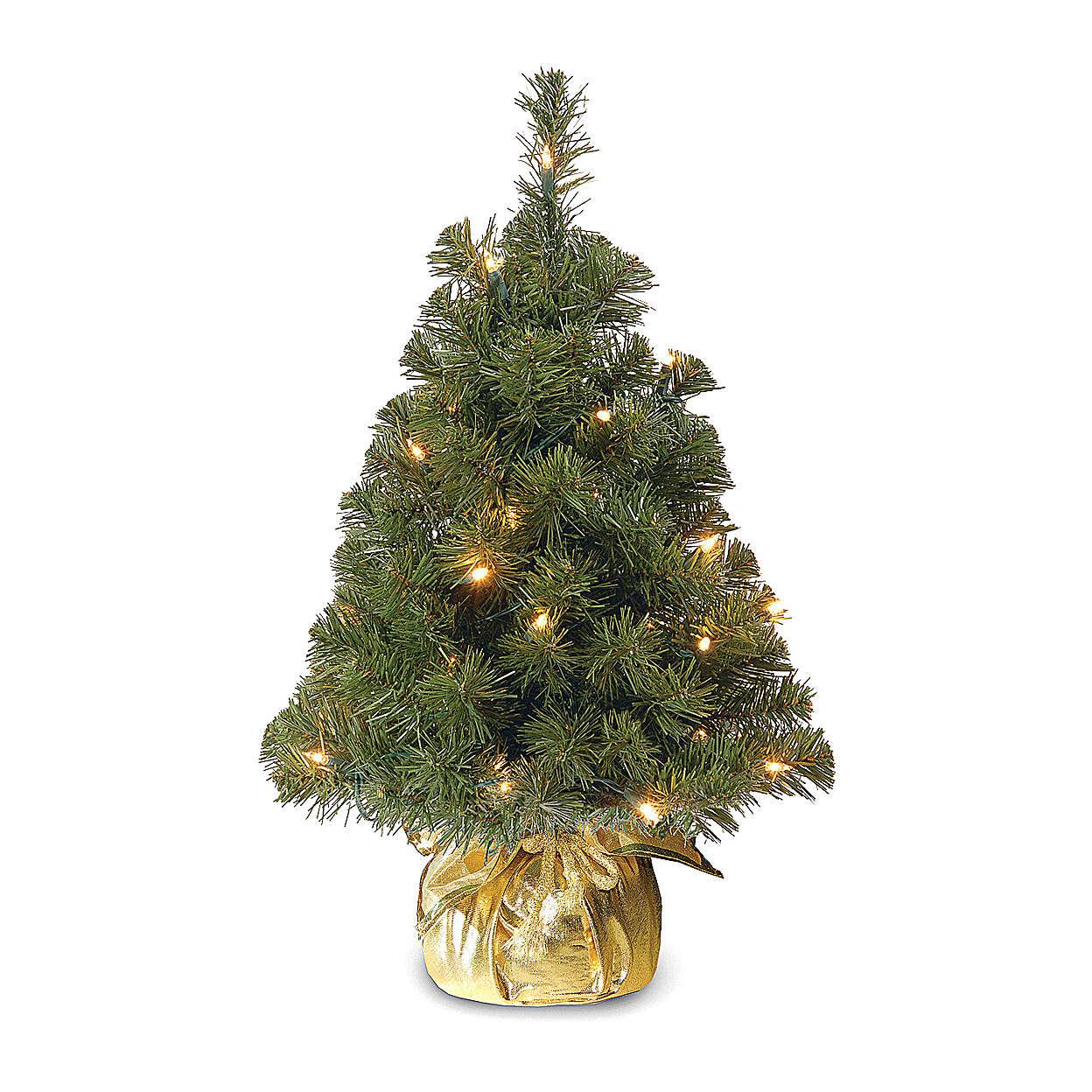 Árvore de Natal 90 cm com 25 lâmpadas LED e base dourada, modelo Noble Spruce Tree Slim 3