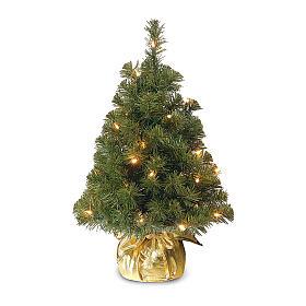 Árvore de Natal 90 cm com 25 lâmpadas LED e base dourada, modelo Noble Spruce Tree Slim s1