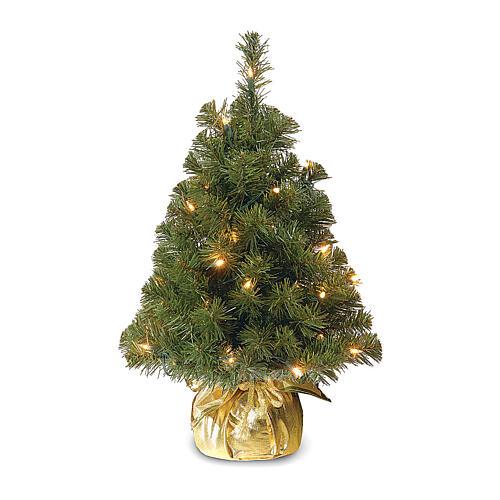 Árvore de Natal 90 cm com 25 lâmpadas LED e base dourada, modelo Noble Spruce Tree Slim 1