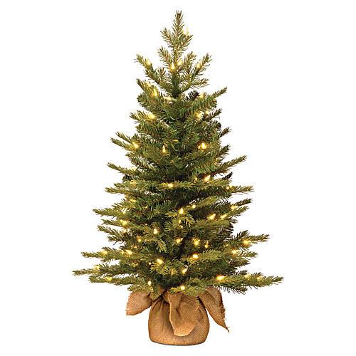 Alberello di Natale 60 cm luci e juta Noble Spruce Slim 1