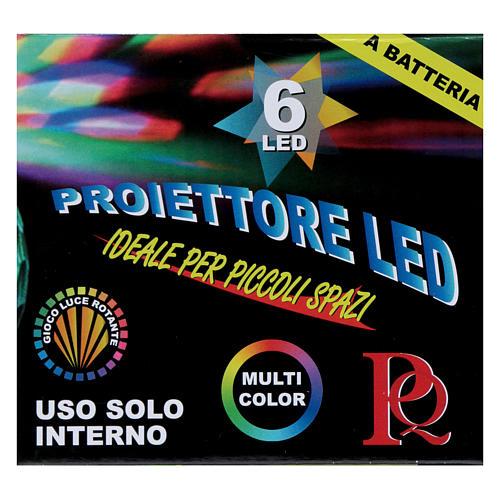 Projecteur 6 led multicolore demi-sphère pivotante sur piles 3