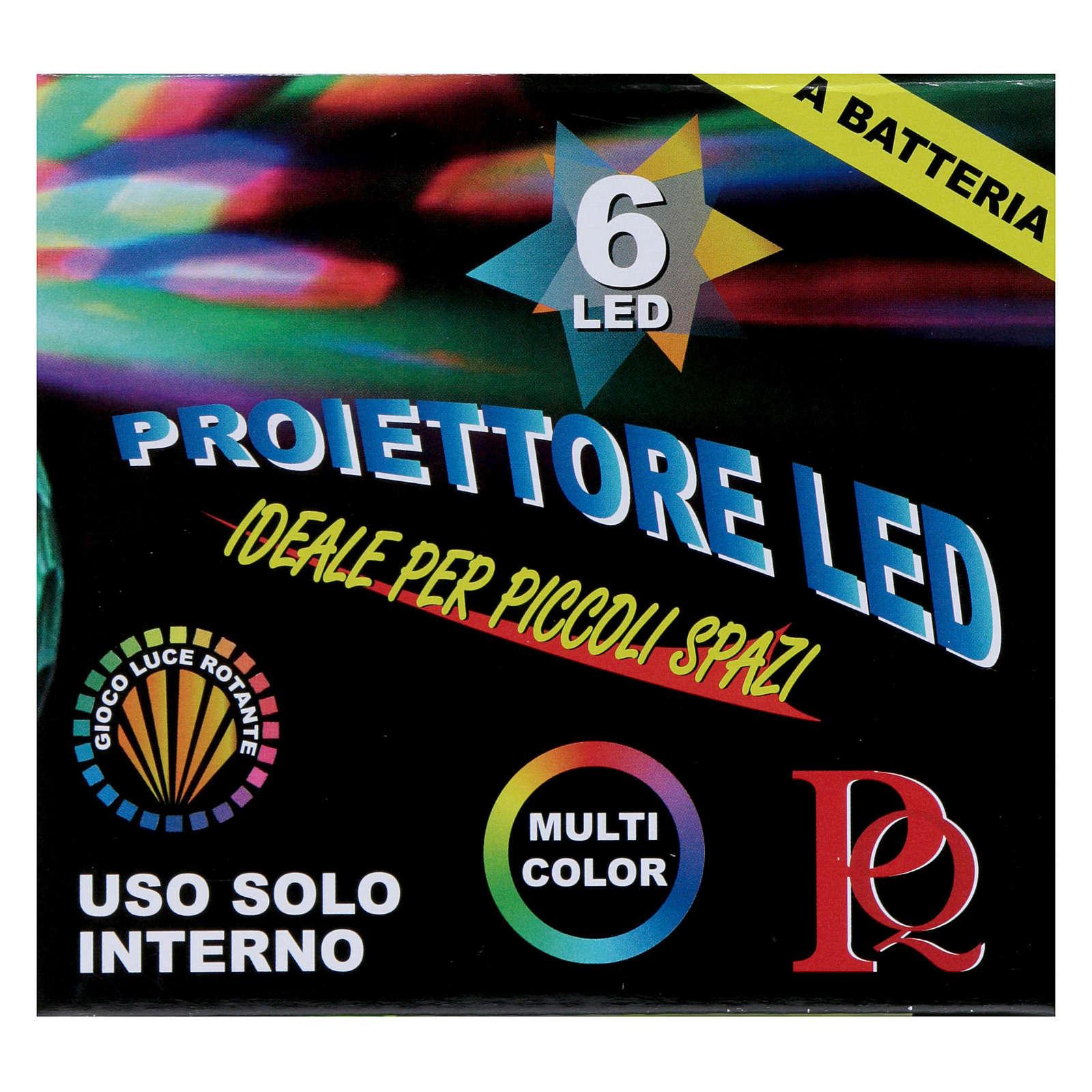 Projetor 6 Leds multicolores hemisfério rotativo de pilhas 3