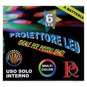 Projetor 6 Leds multicolores hemisfério rotativo de pilhas s3