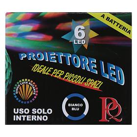 Proyector 6 luces LED blanco y azul Semiesfera Giratoria bactería s3