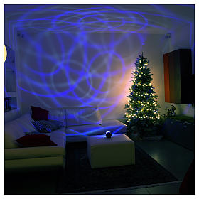 Projecteur laser Noël: Projecteur 6 led blanc bleu demi-sphère pivotante sur piles