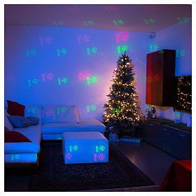 Proiettore laser Natale 6 temi natalizi rosso verde per interno s3