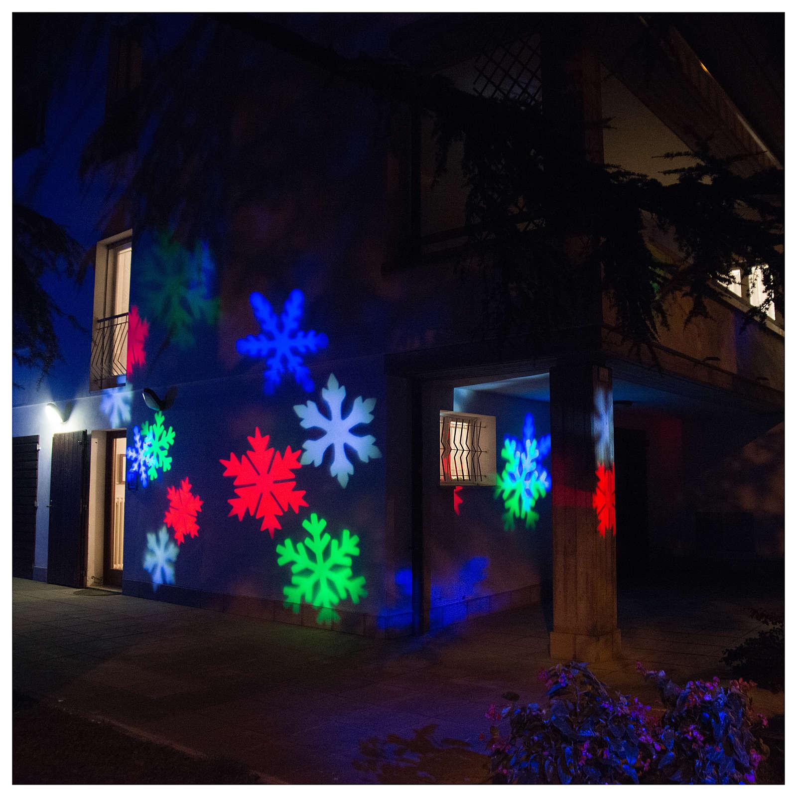 Proiettore led fiocco di neve colorato interno esterno 3