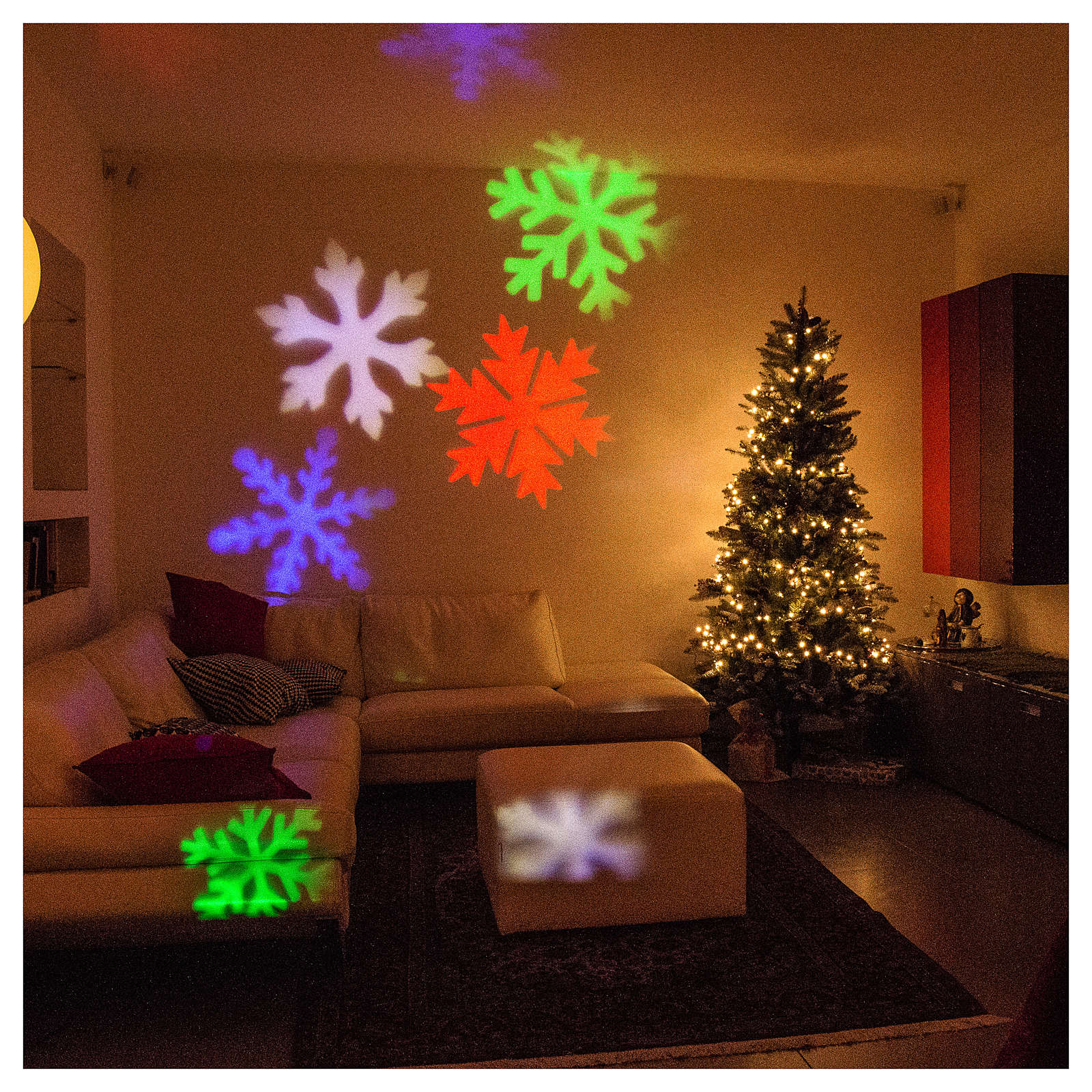 STOCK Christmas light projector LED snow flakes colored internal and external use 3
