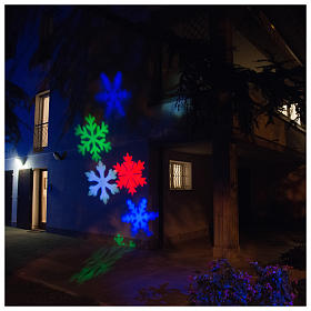 STOCK Christmas light projector LED snow flakes colored internal and external use s1