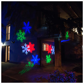 Christmas light projector LED snow flakes colored internal and external use s4