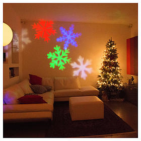 STOCK Christmas light projector LED snow flakes colored internal and external use s5