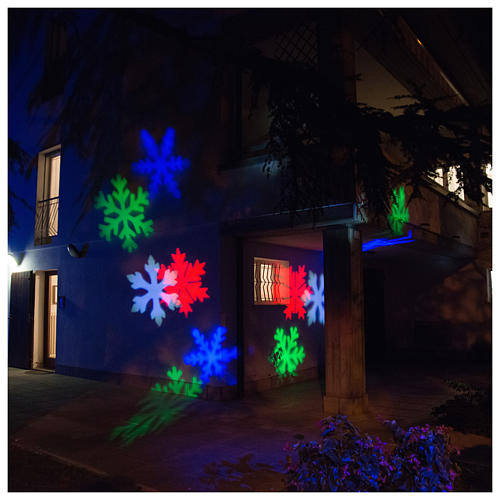 STOCK Christmas light projector LED snow flakes colored internal and external use 4