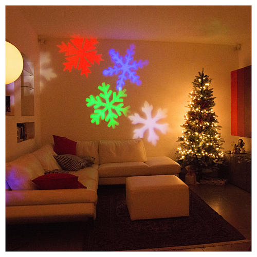 STOCK Christmas light projector LED snow flakes colored internal and external use 5