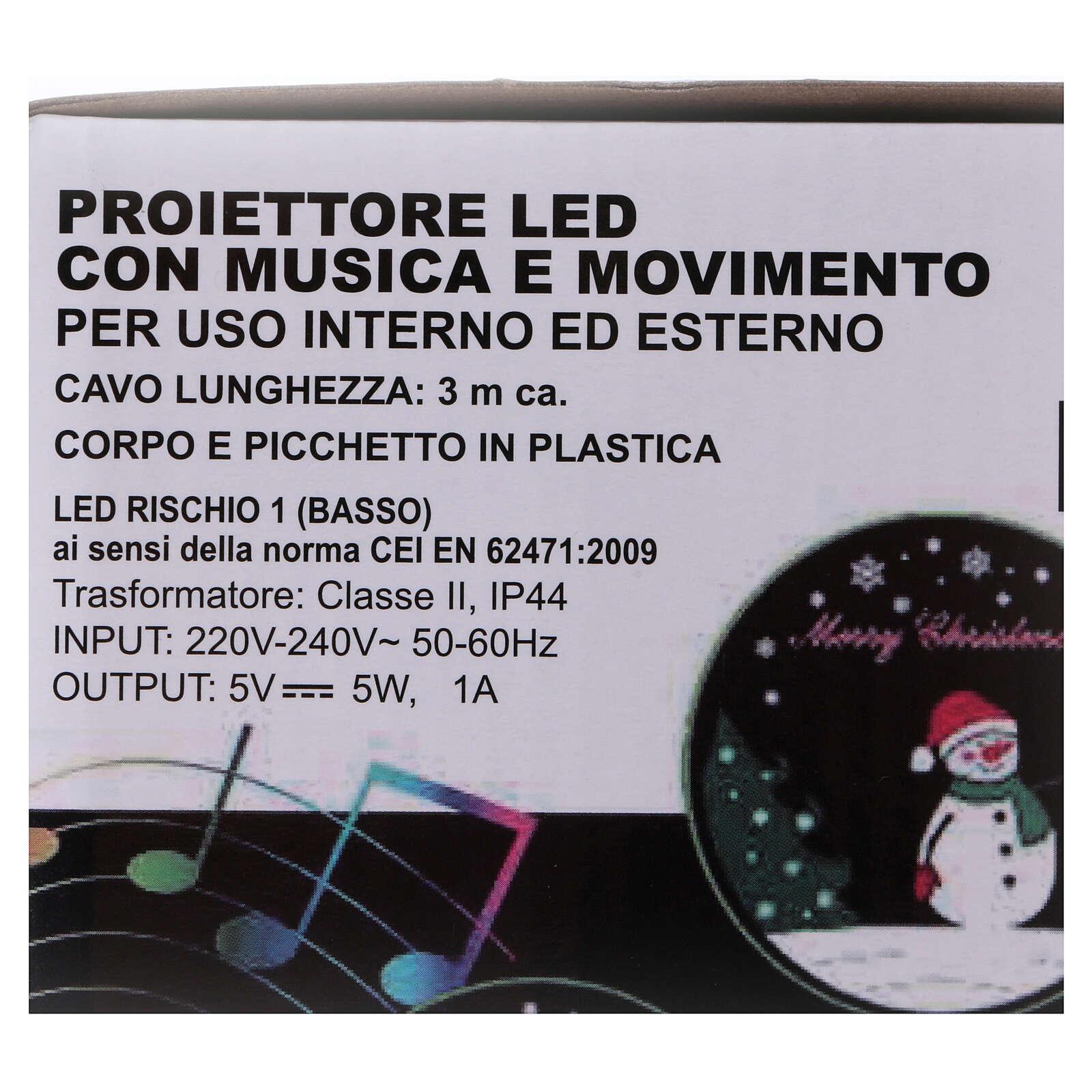 Projektor mit LEDs Pinguin mit Musik, außen und innen 3