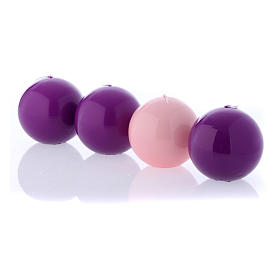 Kit of Advent candles 4 shiny spheres 10 cm s4
