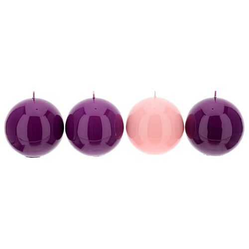 Kit of Advent candles 4 shiny spheres 10 cm 1