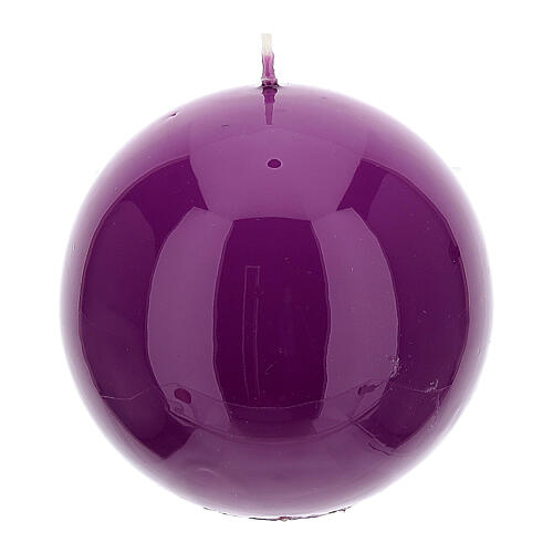 Kit of Advent candles 4 shiny spheres 10 cm 2