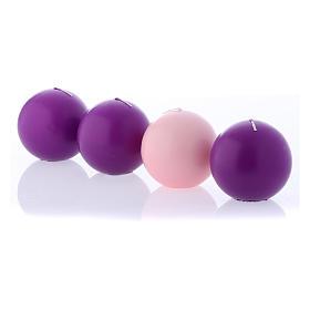 Velas de Adviento esféricas opaca violeta 4 unidades 10 cm s2