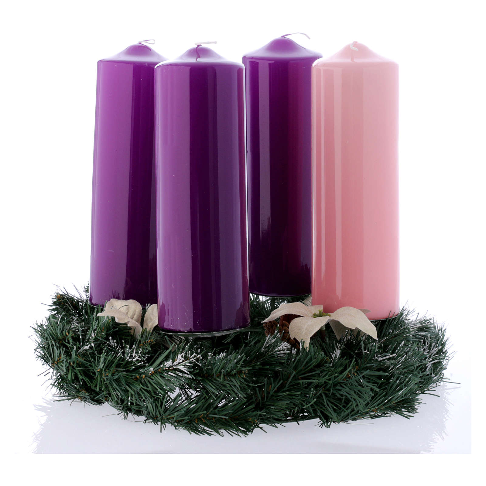 Advent wreath and candles kit shiny wax 8x24 cm 3