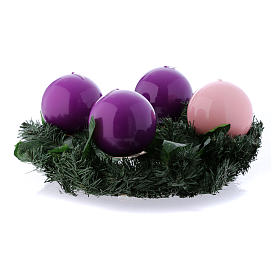 Advent wreath and spherical shiny candles 10 cm s1