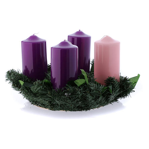 Liturgical Advent kit: wreath and shiny candles 8x15 cm 1