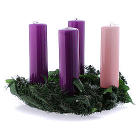 Liturgical Advent kit: wreath and candles 20x6 cm s1