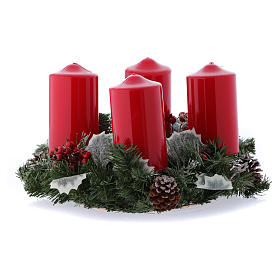 Advent wreath complete set shiny candle 15x8 cm s1