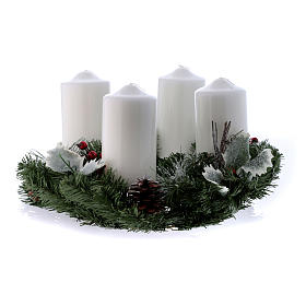 Advent set with wreath and shiny candles 15x8 cm s1