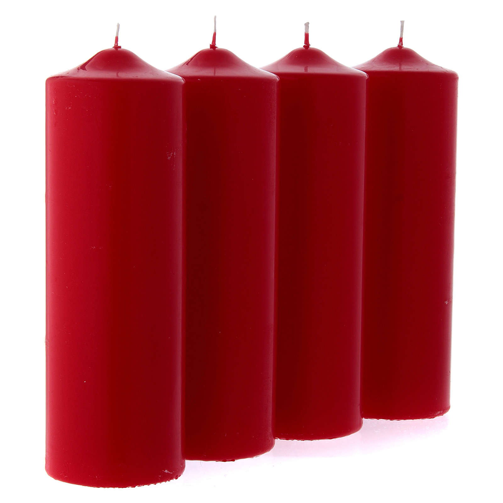 Ceri per l'Avvento 4 pz rossi opachi 24x8 cm 3