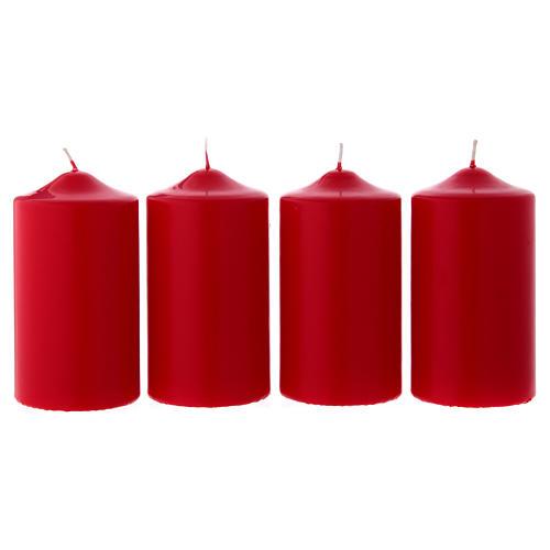 Set 4 bougies rouges pour l'Avent 15x8 cm 1
