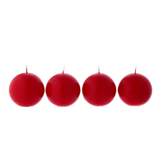 Candele sfere rosse 4 pz per l'Avvento diametro 10 cm 1