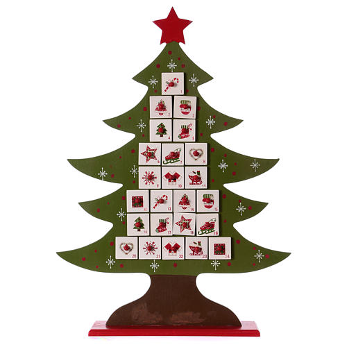 Advent calendar in wood, Christmas tree shaped 1