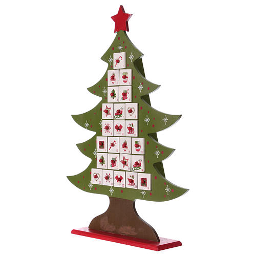 Advent calendar in wood, Christmas tree shaped 4