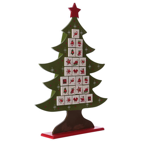Advent calendar in wood, Christmas tree shaped 5