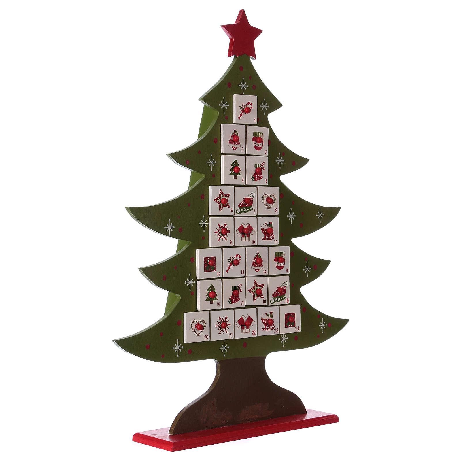 Natale Calendario.Calendario Dell Avvento In Legno A Forma Di Albero Di Natale