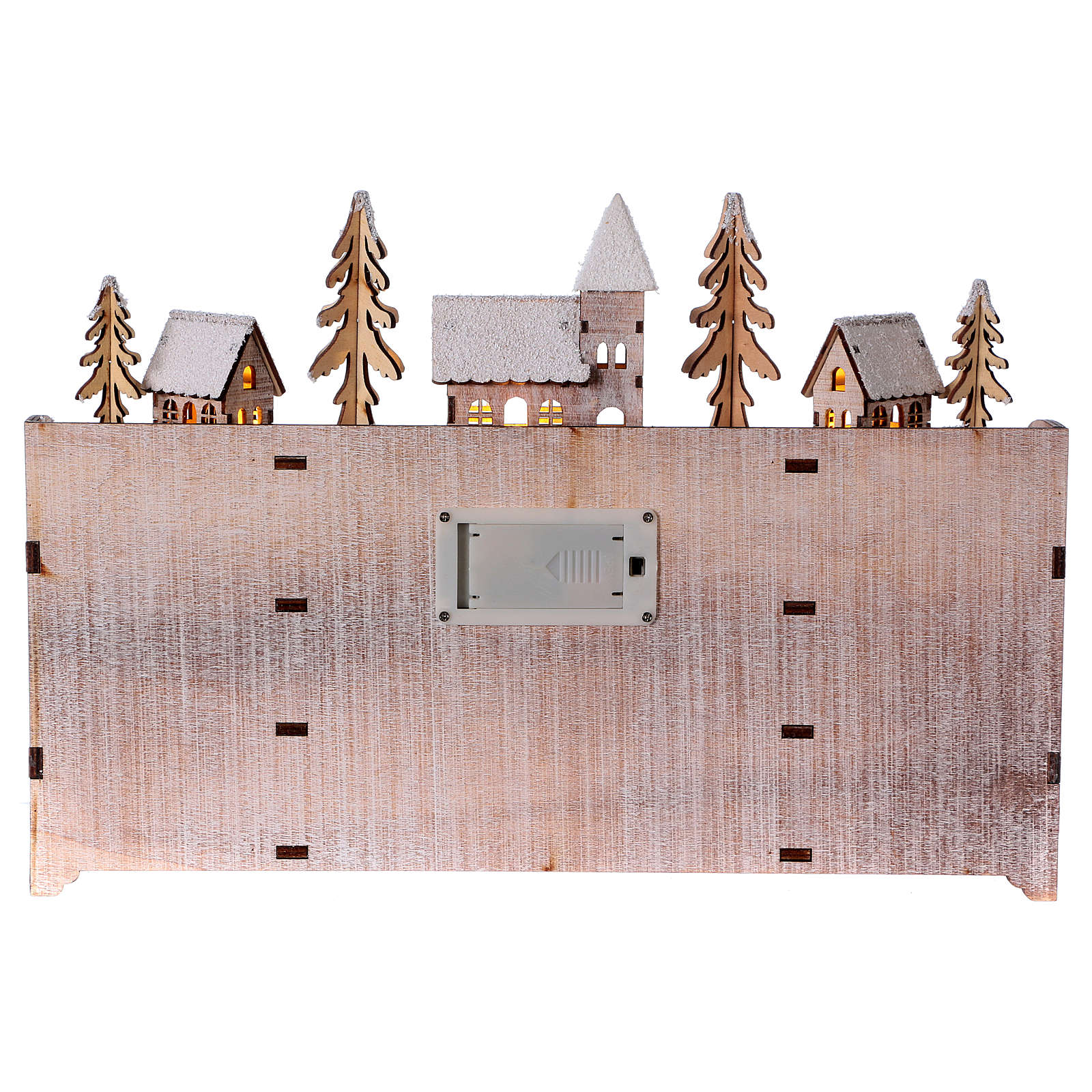 Advent calendar in wood with landscape and lights 3