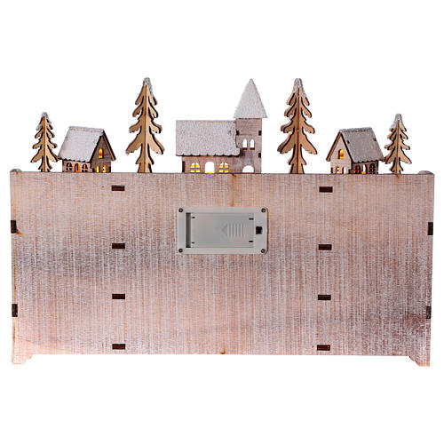 Advent calendar in wood with landscape and lights 4