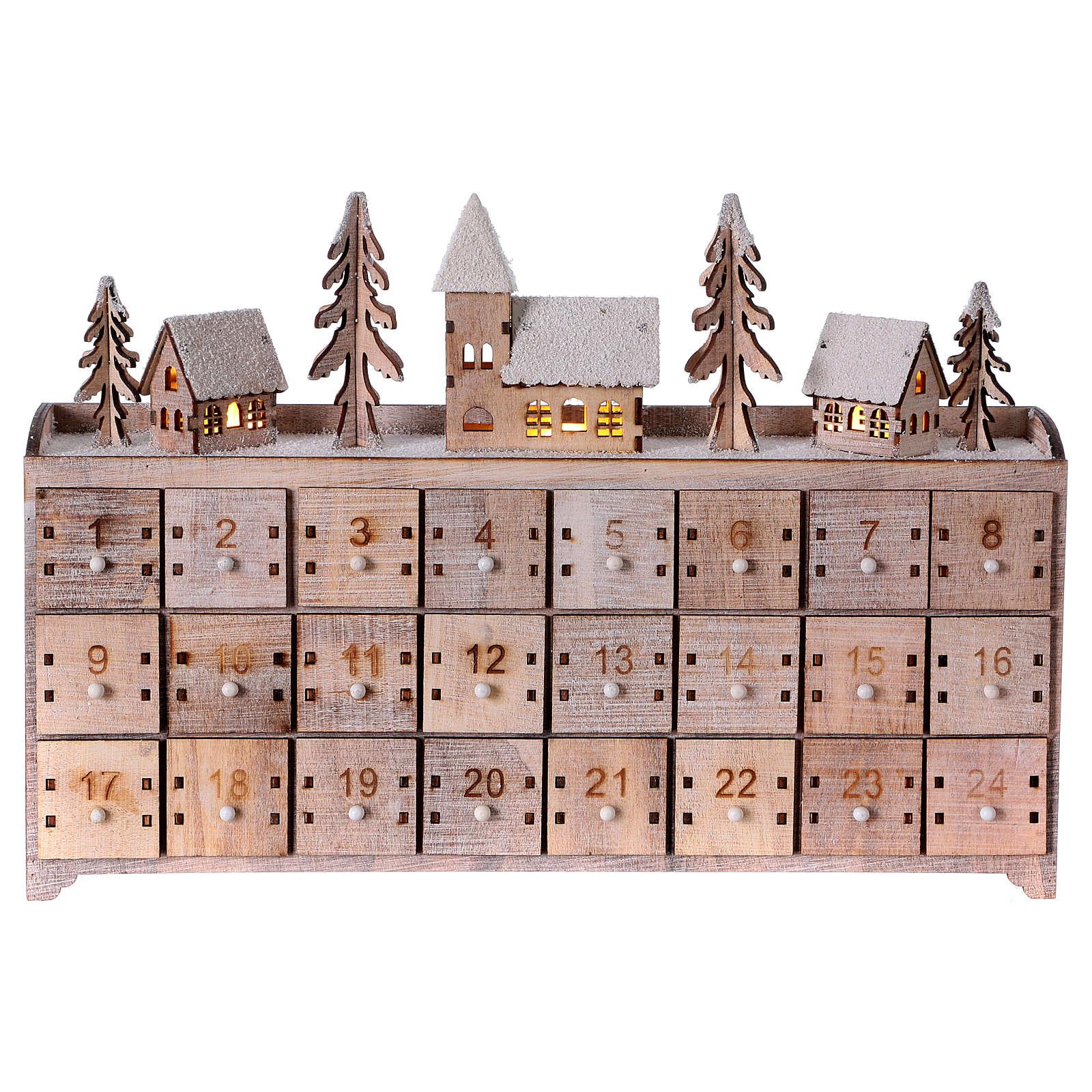 Calendario dell'Avvento in legno, con paesaggio e luci 3