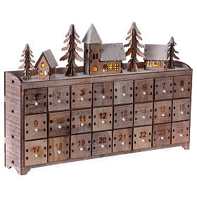 Calendario dell'Avvento in legno, con paesaggio e luci s3