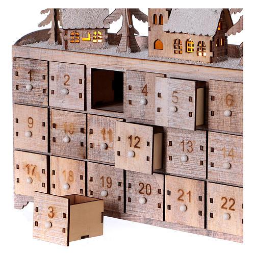 Calendario dell'Avvento in legno, con paesaggio e luci 2