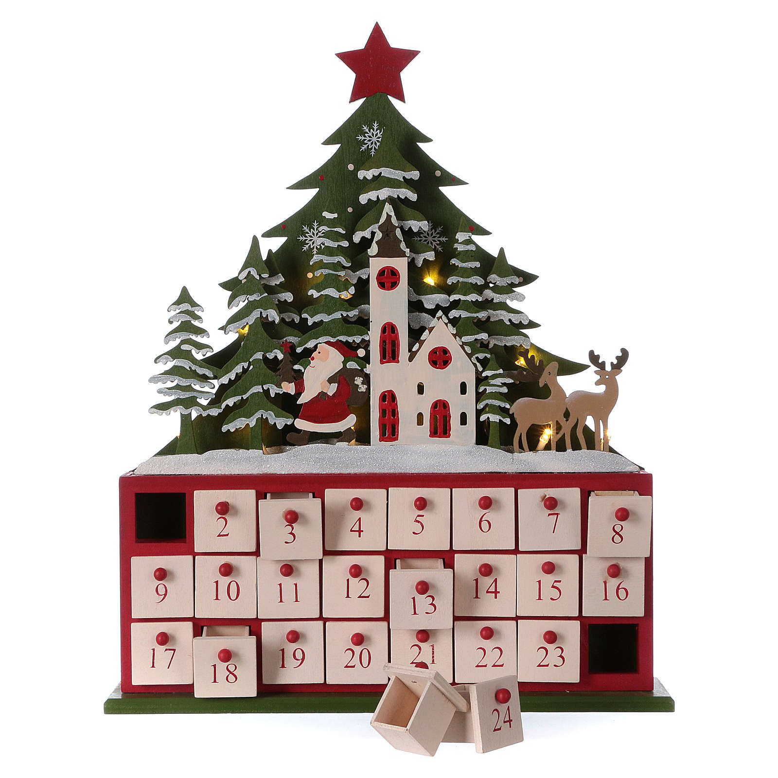 Advent calendar in wood 40 cm with church and LED lights 3