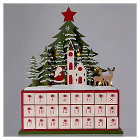 Advent calendar in wood 40 cm with church and LED lights s2