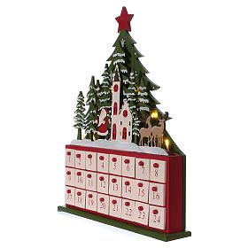 Advent calendar in wood 40 cm with church and LED lights s3