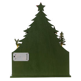 Advent calendar in wood 40 cm with church and LED lights s6